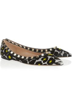 Valentino | Rockstud leopard-print calf hair point-toe flats | NET-A-PORTER.COM