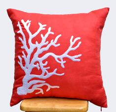 "White Coral Embroidered Throw Pillow Cover - 18"" x 18"" Red Orange linen throw pillow cover - White coral pillow cases"