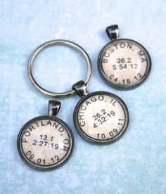 Personalized Marathon / Race Keychain; custom time, place, date.  By CrowBiz.  Also available as necklace.