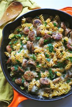 Inspired by our Sausage Alfredo, our friend, Bev, created this beautiful Skillet Pasta with Chicken Sausages and a Creamy Roasted Green Pepper Sauce / @Beverly Weidner