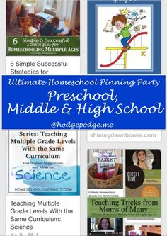 Preschool, Middle & High School at The Ultimate Homeschool Pinning Party