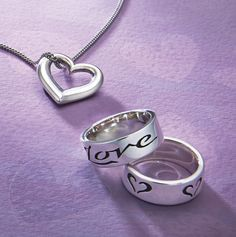 Inscribed Love Band and Free Form Heart from James Avery Jewelry #jamesavery