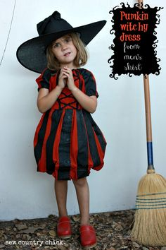 Sew Country Chick: fashion sewing and DIY: Pumpkin Witchy Balloon Skirt Dress Made From A Men's Shirt