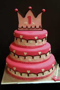1st birthday cake for baby girl! Id skip the crown-and wand, the whole princess theme... and just go for a bow instead