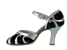1920's midnight blue velvet flapper shoes with silver leather applique. - J and J Slater - New York