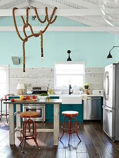 Teal and turquoise open country kitchen