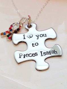 Hand Stamped Autism awareness necklace-Mothers Autism Necklace-autism I love you to pieces-autism ribbon charm  on Etsy, $33.00