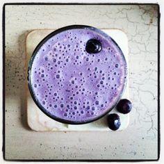 Blueberry Super Smoothie- Bluberries, almond milk, sprouted brown rice protein powder, chia, raw honey, maca, spirulina.