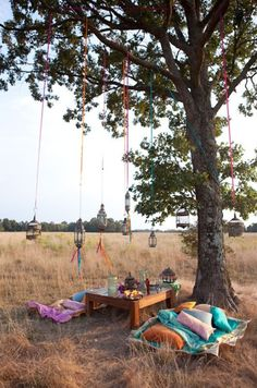 Picnicking under ribbon dangled lanterns