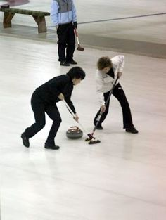 Bev and Karen sweeping at the USCA Club Nationals, California Women's Club Nationals Curling Team, 2007