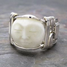 Carved Bone Bali Round Moon Face Sterling Silver by KimsJewels, $30.00