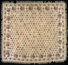 442 hexagon rosettes, 1825 Mary Magych(?) Desel Honeycomb, double border is a block printed chintz. From the SAM Calico & Chintz Collection.