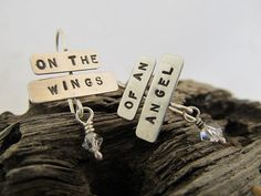 Personalized Hand stamped Earrings - your words, names, dates, place, short quote or saying in sterling silver by JoDeneMoneuseJewelry, $40.00