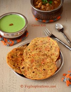 Carrot Roti ~ Wheat Indian Flat bread with carrots and spices