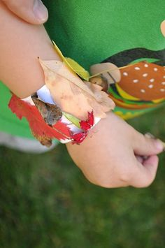 Great outdoor activity for camping. Nature bracelets using packing tape.
