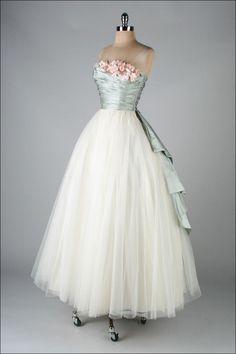 1950's, Dress with silk satin millinery trim, by Ceil Chapman