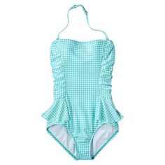 Clean Water Women's Peplum 1-Piece Gingham Swimsuit -Assorted Colors