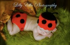 LADY BUG BEANIE and Diaper Cover Set - 0-3 months - Great for Photo Props. $30.00, via Etsy.