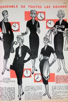 "Fashion article from vintage 1950s French ""L'Echo de la Mode"" magazine"