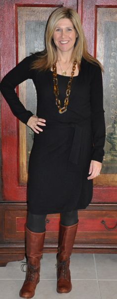 Fall work look: black cashmere wrap dress, tortoise link necklace (LOVE!), black tights, cognac Frye Melissa boots