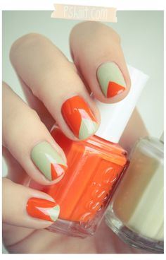 orange and green triangle nails