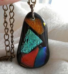 Splashes of Color Dichroic Fused Glass pendant by uniquenique, $23.00 #onfireteam #lacwe #teamfest #handmade