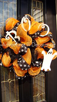 Adventures in Decorating: Our Fall Entry ... fall entri, fun craft, craft idea, fallhalloween wreath, fall wreaths, mesh wreaths, halloween wreaths, holiday decor
