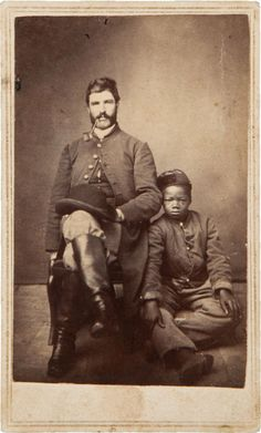 Photography:CDVs, Absolutely One Of The Most Moving Civil War Images  - Symbolic Carte-De-Visite Of A Federal Soldier with His young Cause of Abolition.
