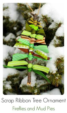 These Scrap Ribbon Tree Ornaments from Fireflies and Mud Pies are so cute!