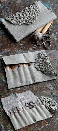 Inspiration ::  Pretty crochet hook case, made by namolio on Etsy