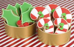 You can't go wrong with two classics. #candycanes #holly