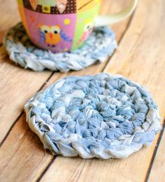 Fabric Crochet Coaster Pattern ... great upcycle idea!