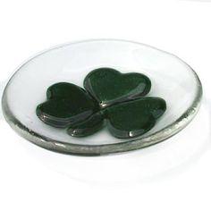 Fused Glass Ring Dish Shamrock