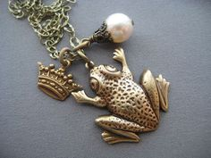 Frog Necklace  Frog Prince  Frog Jewelry  by SilverTrumpetJewelry, $25.00