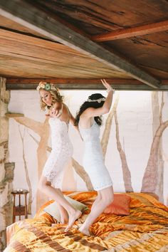 adorable portrait idea for newlyweds or bridesmaids! photo by Lara Hotz http://ruffledblog.com/sydney-polo-club-wedding #weddingportrait #weddings #brides