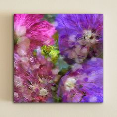 Wall art print on canvas Purple and pink flowers by OneDesign4U, $39.00