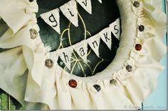 muslin ruffle and button wreath