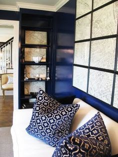 lacquered blue wall