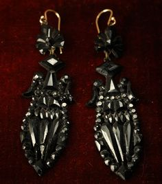 1870s French Jet (black glass) Earrings