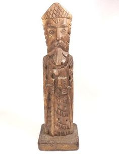ANTIQUE SCANDINAVIAN MEDIEVAL-RENAISSANCE CARVED WOOD STATUE ca 1300-1500 AD