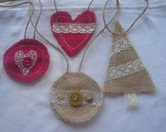 Rustic Handmade Burlap Christmas Ornaments - Set of Four. Lace, Buttons, Red and Natural Burlap.  Free Shipping in U.S.. $9.00, via Etsy.