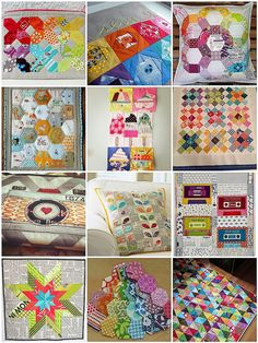 my mosaic of inspiration for our CLTMQG mug rug swap- I want to remember all of these fabulous projects!
