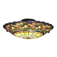 "Tiffany Bronze 19"" Wide Ceiling Light Fixture"