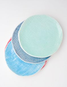 Suite One Studio plates, sold at Leif. Burlap Textured Tapas Plate @Lindsay Emery