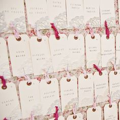 Stamp and Doily Escort Cards | Next Exit Photography | www.theknot.com