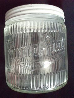 Burma Shave pressed glass Barbers jar Hazel Atlas vintage
