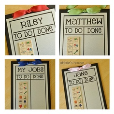 "love this idea. Magnets with chores. They just move the magnet over to the ""done"" column once completed. Cute etsy shop"