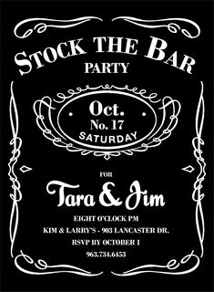 """Invite for a """"Stock the Cellar"""" bridal shower I found for a good friend. :)"""