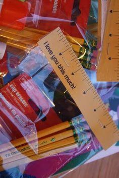 School supply valentines