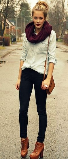 booties, chambray top, jeans, infinity scarf and bun.